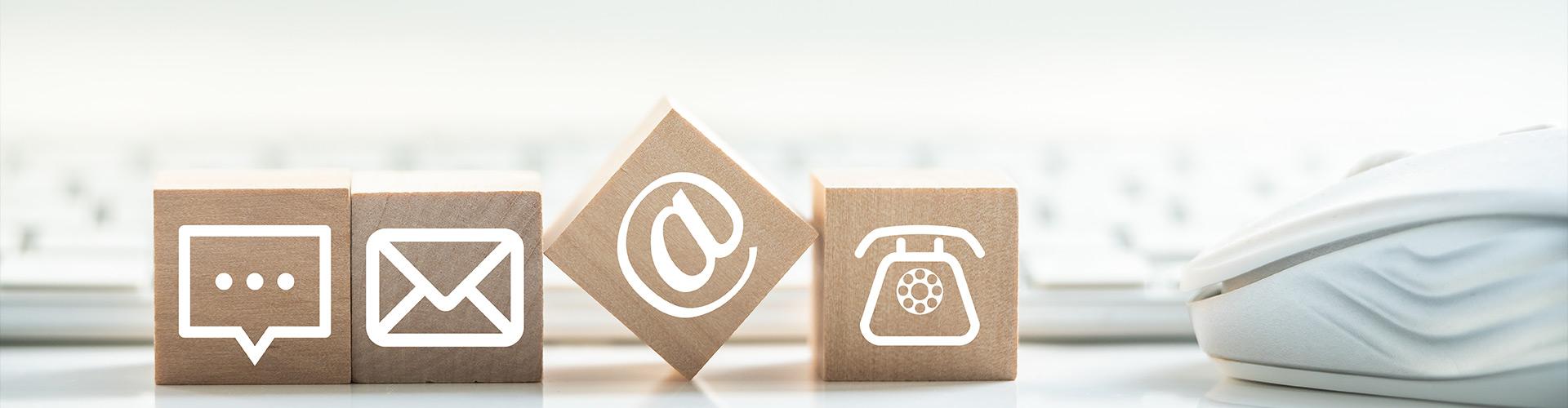 Kontakt zu CMP-Pedotec. Im Bild: Klötzchen mit Kontaktsymbolen